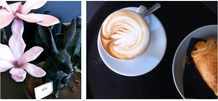 Blumen und Kaffee im cafe oliv berlin