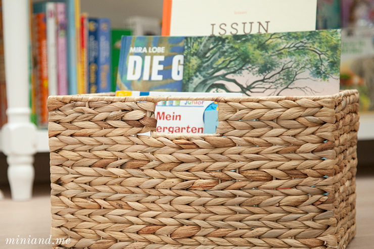 Bücherkorb im Lesebereich nach montessori