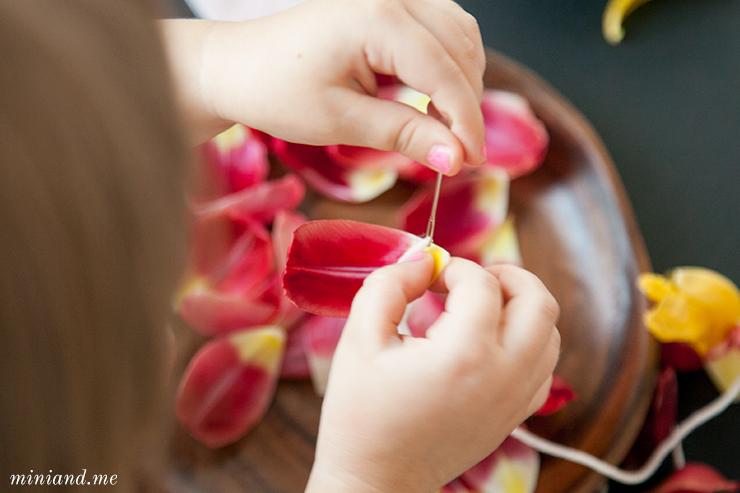 blütenfädeln Feinmotorik übung nach Montessori
