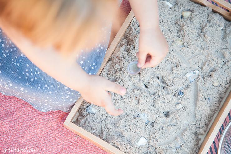 Montessori: Muscheln sieben, waschen, ordnen (mit Übungen des täglichen Lebens, schult die Feinmotorik und den Tastsinn bei Kindern von 2 bis 6 Jahren)